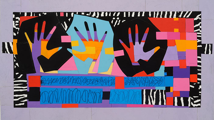 "© 2013 ""Hands Dance with Zebra Stripes""acrylic on canvas, collaged, 19"" x 34"""